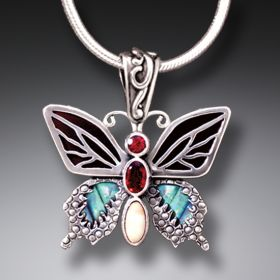 Paua Jewelry Jeweled Butterfly Necklace with Garnet, Black Mussel, and Ancient Ivory - Transition II