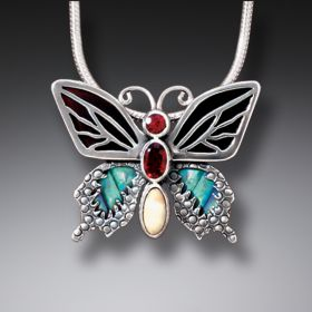 Paua Jewelry Garnet Butterfly Necklace with Black Mussel and Mammoth Tusk Ivory - Transition II