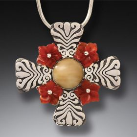 Mammoth Tusk Ivory Flower Cross Necklace, Handmade Silver - Cross Motif