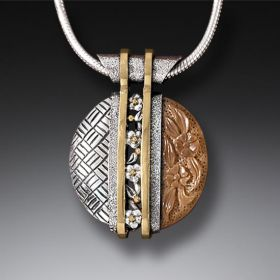 Handmade Silver Motif Necklace with Fossilized Walrus Tusk - Tsuba