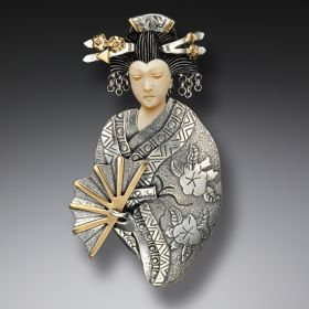 Mammoth Ivory Geisha Necklace or Pin, Handmade Silver - Fan Geisha