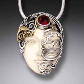 Mammoth Tusk Ancient Ivory Face Necklace with 14kt Gold Fill and Garnet - Ornamented Face