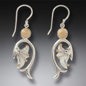 Fossilized Walrus Ivory Silver Mother of Pearl Earrings, 14kt Gold Fill - Emergence