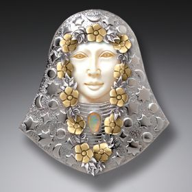 Mammoth Ivory Jewelry Silver Opal Pendant or Pin, 14kt Gold Fill and Opal - Seer