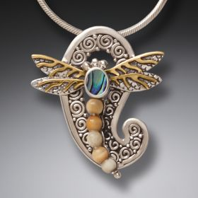 Mammoth Tusk Ivory Silver Dragonfly Pendant Paua Jewelry with 14kt Gold Fill - Paisley Dragonfly