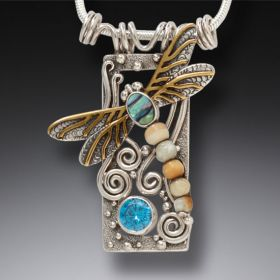 Silver Dragonfly Pendant Paua Jewelry with Mammoth Ivory, Blue Topaz, and 14kt Gold Fill - Dragonfly