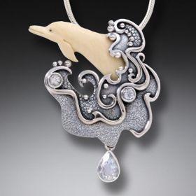Mammoth Ivory Tusk Dolphin Pendant Silver with Rainbow Moonstone - Sea Spirit