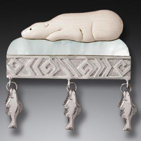 Mammoth Ivory Bear Pin with Mother of Pearl - Arctic Dreaming I