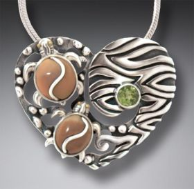Fossilized Walrus Ivory Turtle Heart Necklace with Peridot, Handmade Silver - Two Turtles