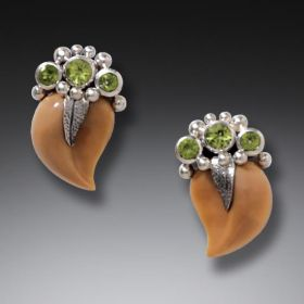 Silver, Peridot & Fossilized Walrus Tusk Earrings