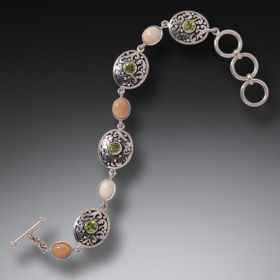 Fossilized Walrus Ivory Bracelet with Peridot, Handmade Silver - Spring Stream