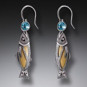 Handmade Silver Jeweled Fish Earrings with Mammoth Ivory and Blue Topaz - Treasures from the Stream