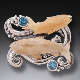 Fossilized Walrus Ivory Silver Fish Pendant with Blue Topaz - Go with the Flow