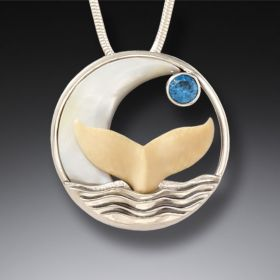 Mammoth Ivory Tusk Silver Whale Tail Necklace with Blue Topaz - Moonrise
