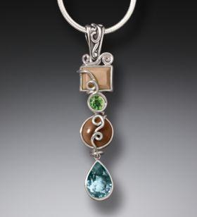Mammoth Tusk Ivory Blue Topaz Drop Necklace, Handmade Silver - Ocean Drop
