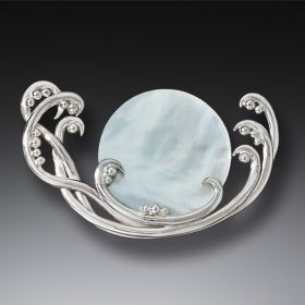 Handmade Silver Mother of Pearl Jewelry Ocean Pin - Surf Spray