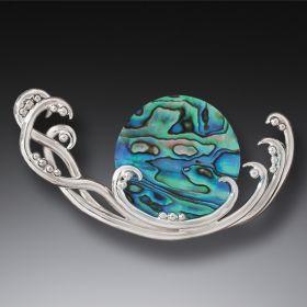 Handmade Silver Paua Jewelry Ocean Pin - Surf Spray