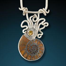 Ammonite, silver squid pendant - Ammonite Squid Pendant