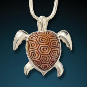 Fossilized walrus ivory turtle pendant - Sea Turtle