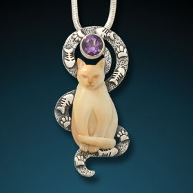 Silver, fossilized mammoth ivory and amethyst cat pendant - Contented Cat