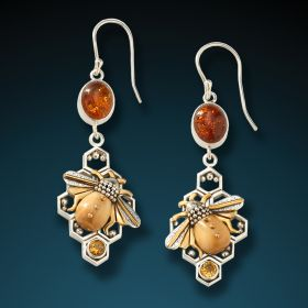 Fossilized walrus ivory honeycomb bee earrings - Honeycomb Bees