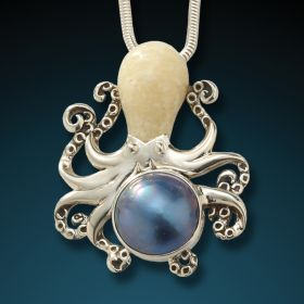 Fossilized walrus ivory octopus with mabe pearl - Octopus With Mabe