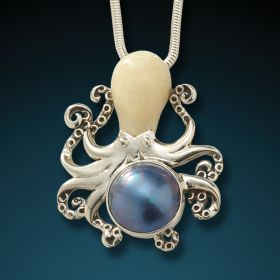 Fossilized mammoth ivory octopus with mabe pearl - Octopus With Mabe