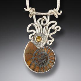 Ammonite and silver squid pendant - Ammonite Squid Pendant