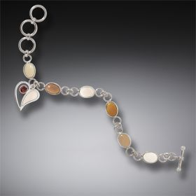 Tagua Nut and Bone Silver Heart Charm Bracelet with Garnet - Heart Song