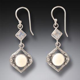 Sterling Silver and Rainbow Moonstone Earrings - Night Rain