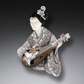 Geisha Pin or Pendant, Handmade Silver - Shamisen Player