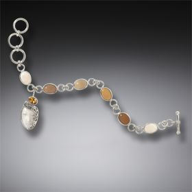 Tagua Nut and Bone Enigma Bracelet, Handmade Silver - Enigma
