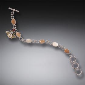 Garnet Bee Charm Bracelet, Handmade - Silver Bee Charm