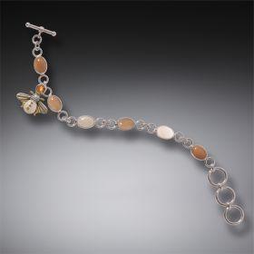 Citrine Bee Charm Bracelet, Handmade - Silver Bee Charm