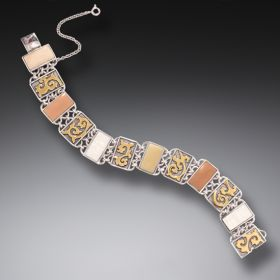 Tagua Nut and Bone Bracelet, 14kt Gold Fill and Handmade Silver - Gilded Path