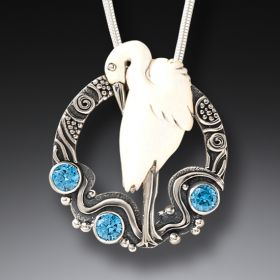 Carved Bird Necklace with Blue Topaz, Handmade Silver - Egret in Flow