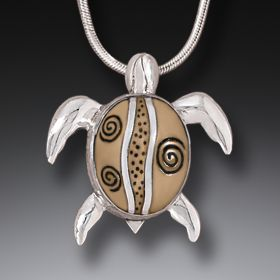 Mammoth Tusk Ancient Ivory Silver Sea Turtle Necklace - Turtle
