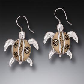 Mammoth Ivory Tusk Silver Sea Turtle Earrings, Handmade - Turtles