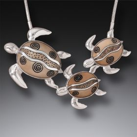 Mammoth Ivory Jewelry Turtle Family Necklace, Handmade Silver (includes chain) - Mother and Baby Turtles