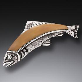 Mammoth Ivory Jewelry Handmade Silver Fish Pin or Pendant - Ancestor Fish