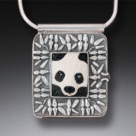 """Panda,"" Silver & Ancient Mammoth Ivory Locket"