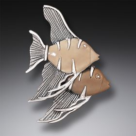 Mammoth Ivory Pendant Angelfish Jewelry Necklace or Ivory Pin, Handmade Silver - Angel Fish