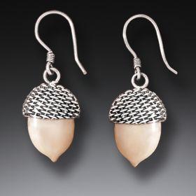 Fossilized Walrus Ivory Silver Acorn Earrings, Handmade - Acorn