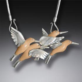 Fossilized Walrus Tusk Silver Hummingbird Necklace, Handmade (includes chain) - Hummingbirds