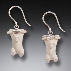 Mammoth Ivory Polar Bear Earrings