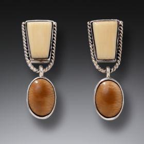 Handmade Silver Fossilized Walrus Ivory Earrings - Nefertiti