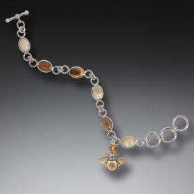 Fossilized Mammoth Ivory Citrine Bee Charm Bracelet, Handmade Silver - Bee Charm
