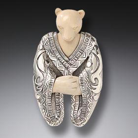 Mammoth Ivory Polar Bear Pin or Pendant, Handmade Silver - Shaman Bear