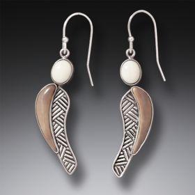 Fossilized Walrus Ivory Earrings, Handmade Silver - Heart Song