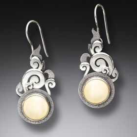 Mammoth Tusk Ivory Silver Lotus Earrings, Handmade - Lotus Mandala